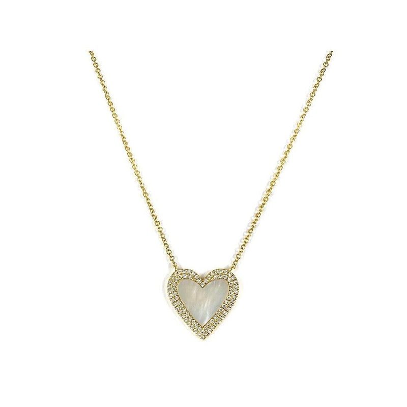 14K Yellow Gold Necklace with Mother of Pearl and Diamonds