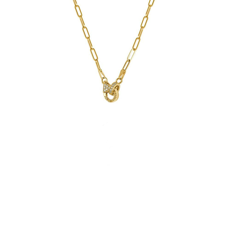 14K Yellow Gold Paper Clip Chain with Diamond Clasp