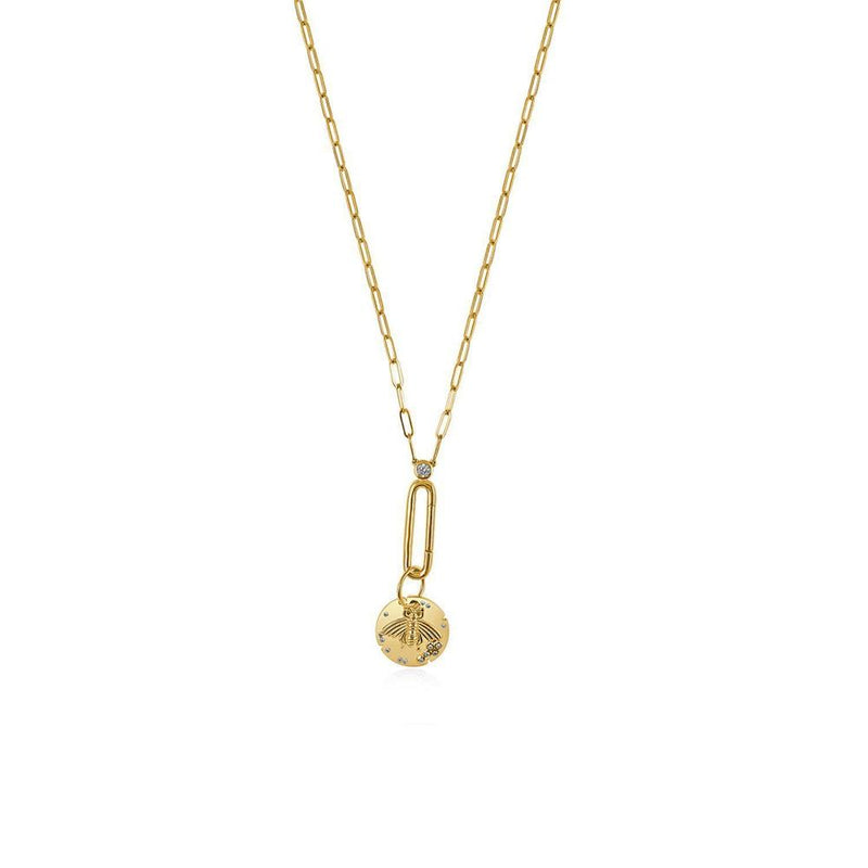 14K Yellow Gold Paper Clip Long Chain with Diamonds