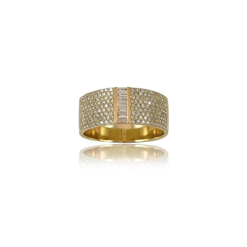 14K Yellow Gold Pave/Baguette Cut Diamond Ring