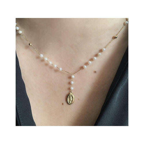 14K Yellow Gold Pearl Rosary
