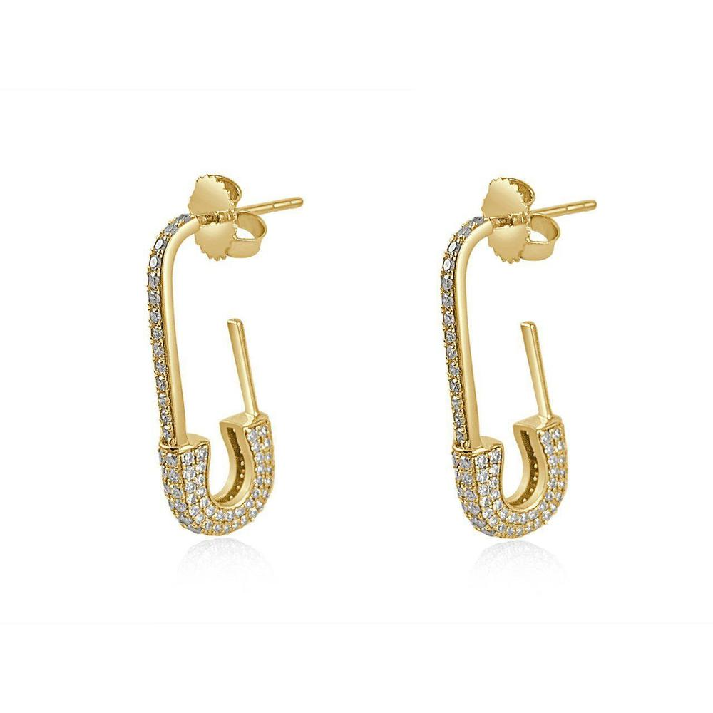 14K Yellow Gold Pin Diamonds Hoops