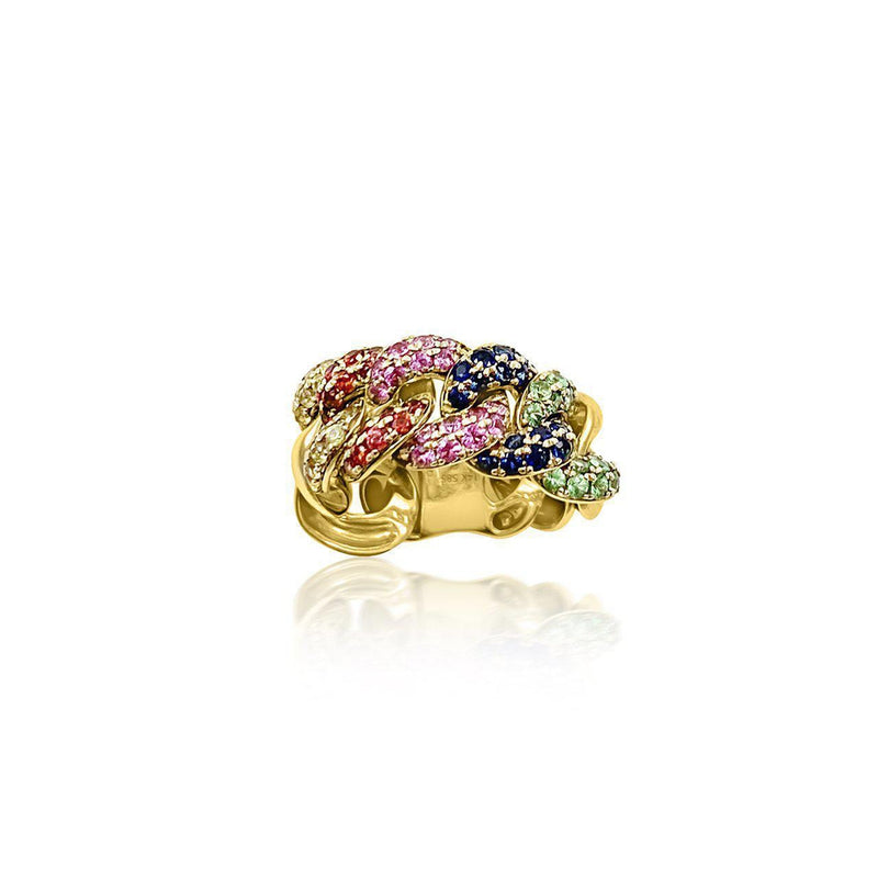 14K Yellow Gold Ring with Multicolor Sapphire