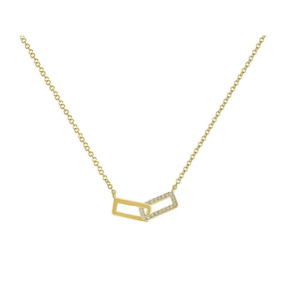 14K Yellow Gold Rectangle Link Necklace with Diamonds
