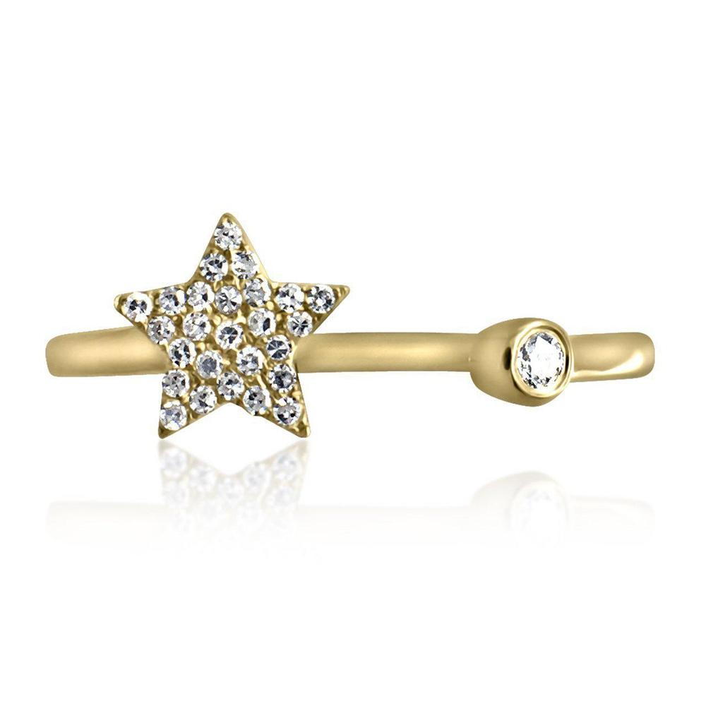14K Yellow Gold Ring with Diamonds  Diamond Pave Star 27 Diamonds of 0.08ct Gold Total Weight: 1.60g