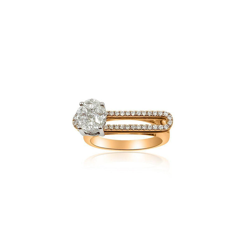 18K Rose and White Gold Ring with Dancing Diamond