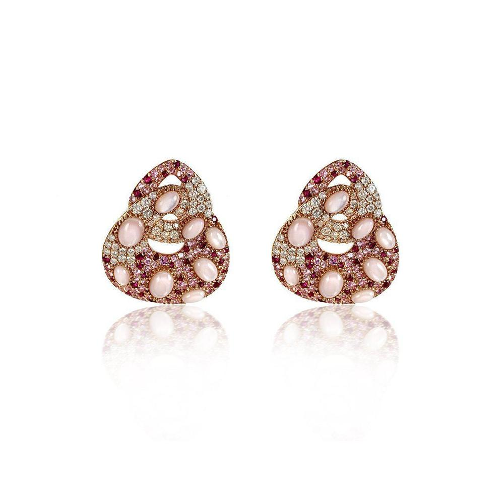 18K Rose Gold Earrings with Mother of Pearl Rubies, Pink Sapphire and Diamonds