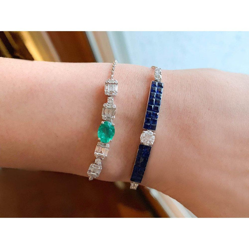 18K White Gold Bracelet with Emerald and Sapphire and Diamonds