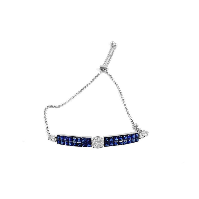 18K White Gold Bracelet with Sapphire and Diamonds