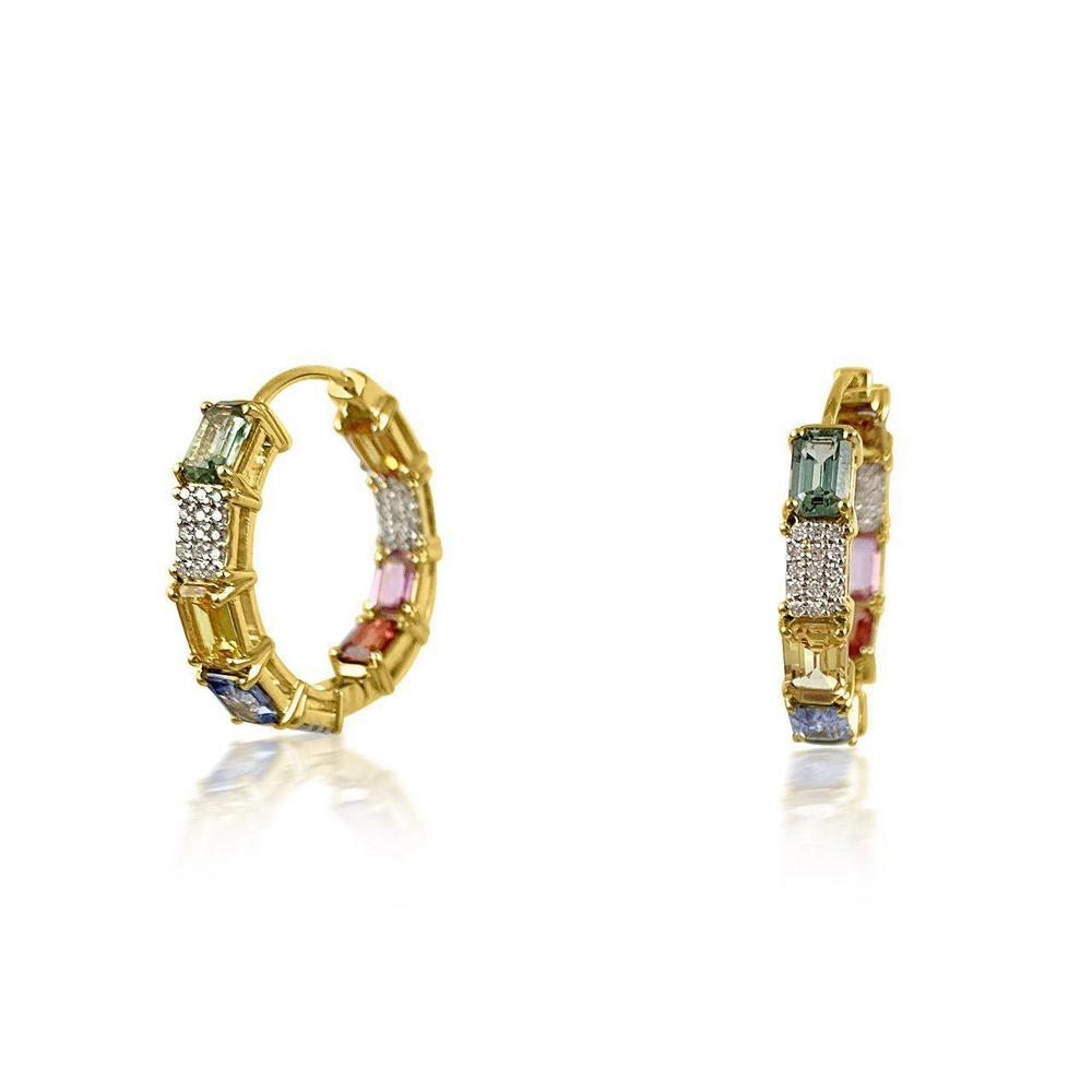 18K Yellow Gold Earrings decorated with Multicolor Sapphire Stones and Diamonds