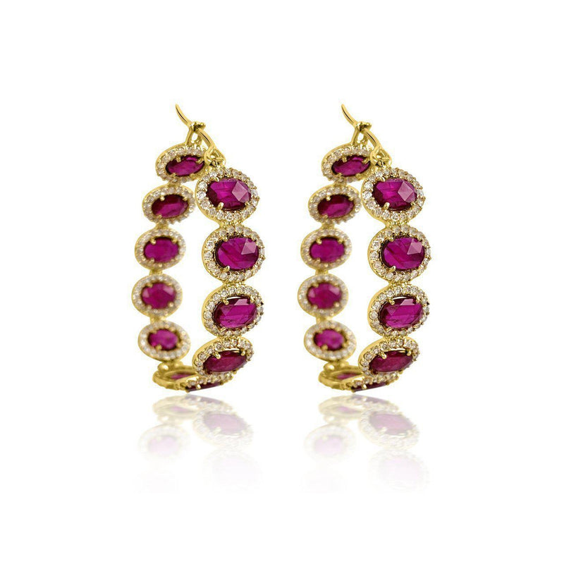 18K Yellow Gold Earrings with Ruby and Diamonds
