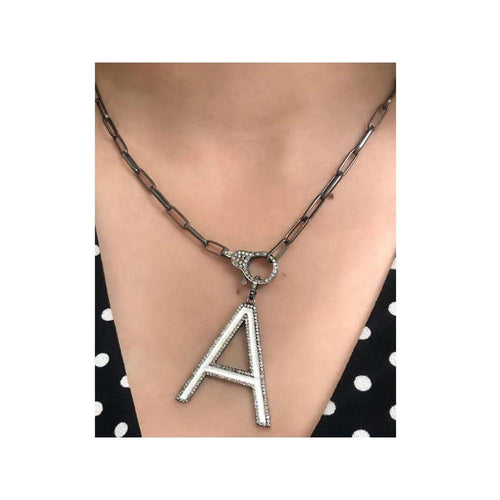 """A"" Enamel Silver (925) Necklace with Diamonds/ Lobster Clasp"
