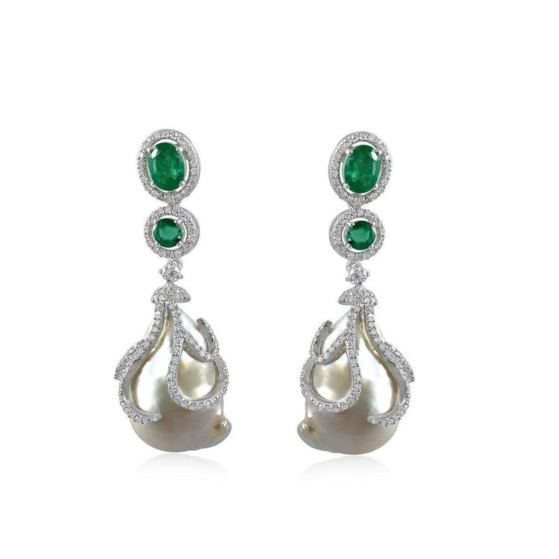 Barroque Pearls with Emerald and Diamonds Earrings