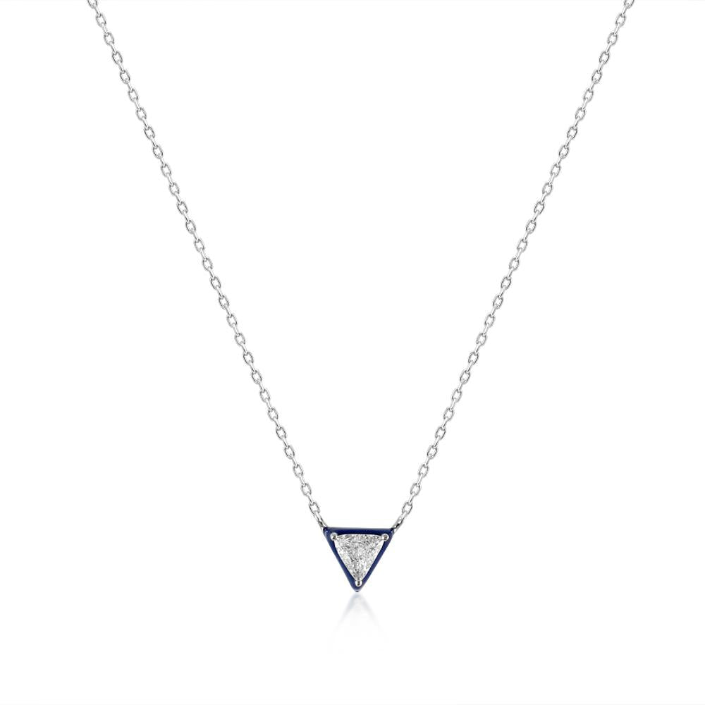18K White Gold Necklace with Blue Enamel & Diamond