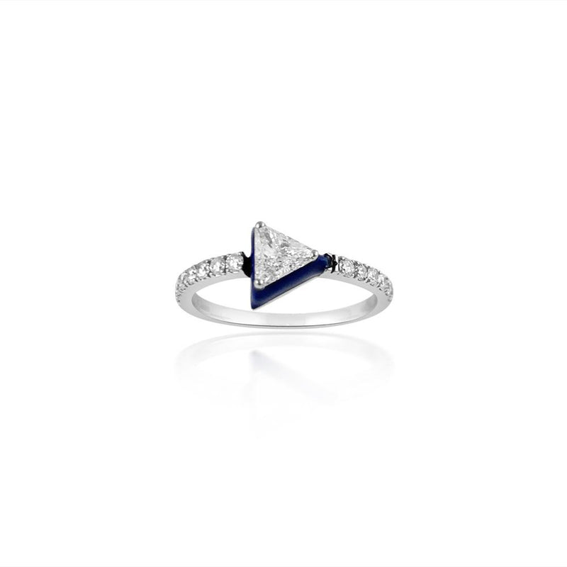 Blue Enamel Triangle 18K White Gold & Diamond Ring