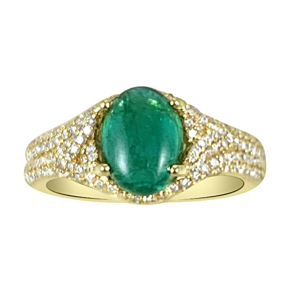 Oval Emerald Ring in 18K White Gold