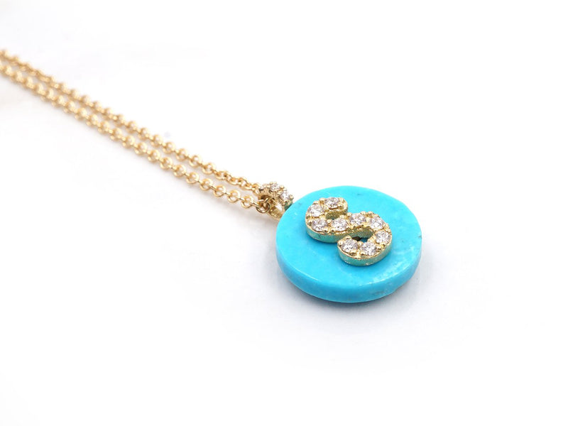 18K Yellow Gold Initial Diamond Necklace on Turquoise
