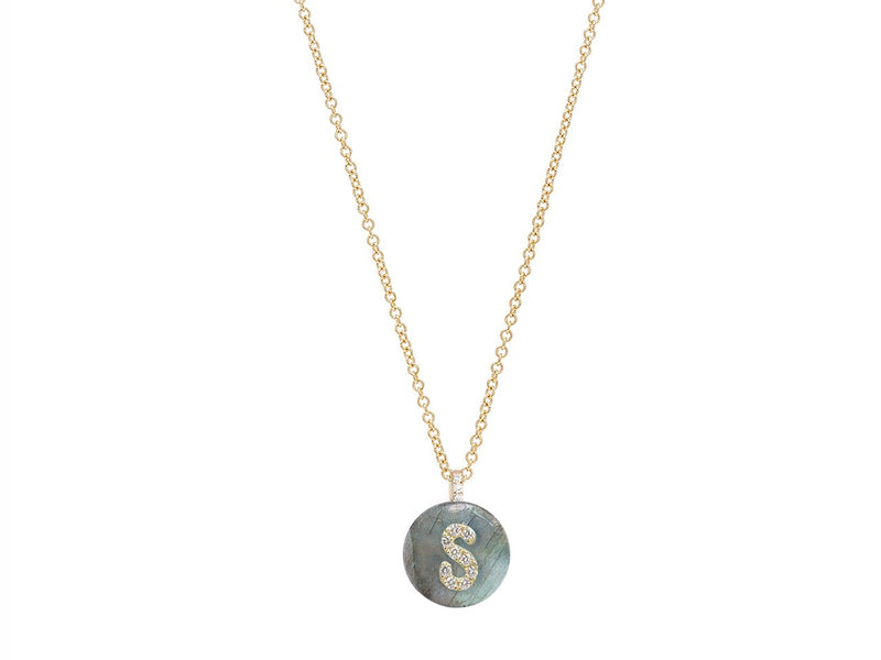 Co-exist Initial on Stone Necklace - 18K Gold with Diamonds