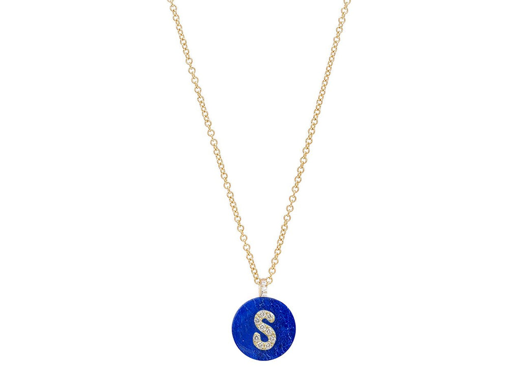 18K Yellow Gold Initial Diamond Necklace on Lapis
