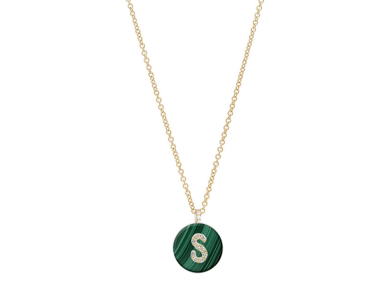 18K Yellow Gold Initial Diamond Necklace on Malachite