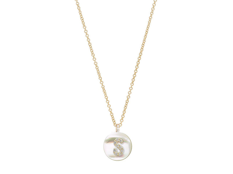 18K Yellow Gold Initial Diamond Necklace on Mother of Pearl