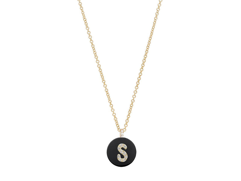 18K Yellow Gold Initial Diamond Necklace on Onyx