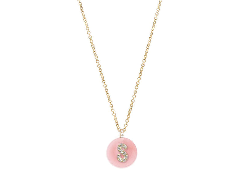 18K Yellow Gold Initial Diamond Necklace on Pink Opal