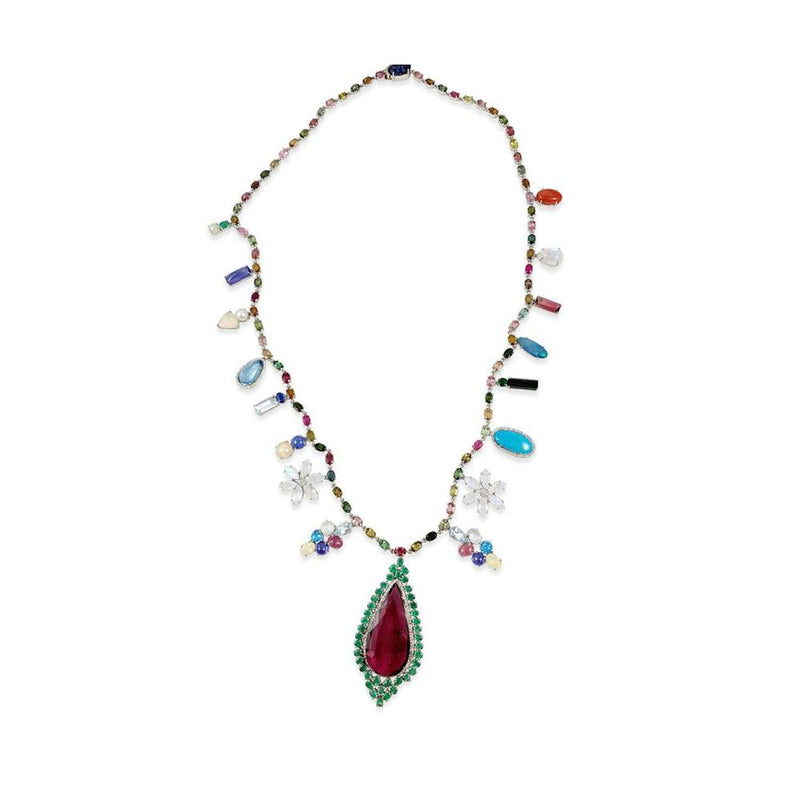 Colored Stones & Diamond Silver Necklace