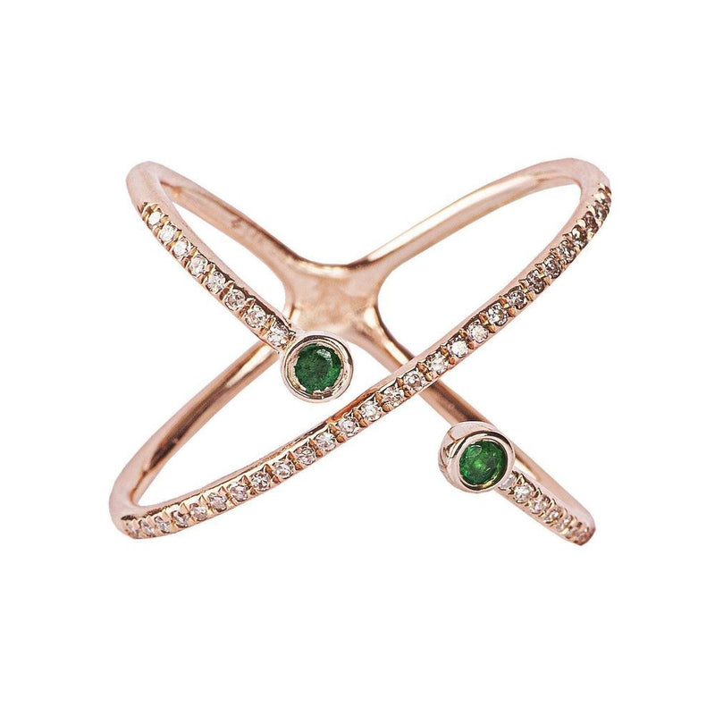 14K Rose Gold Ring with Emeralds and Diamonds