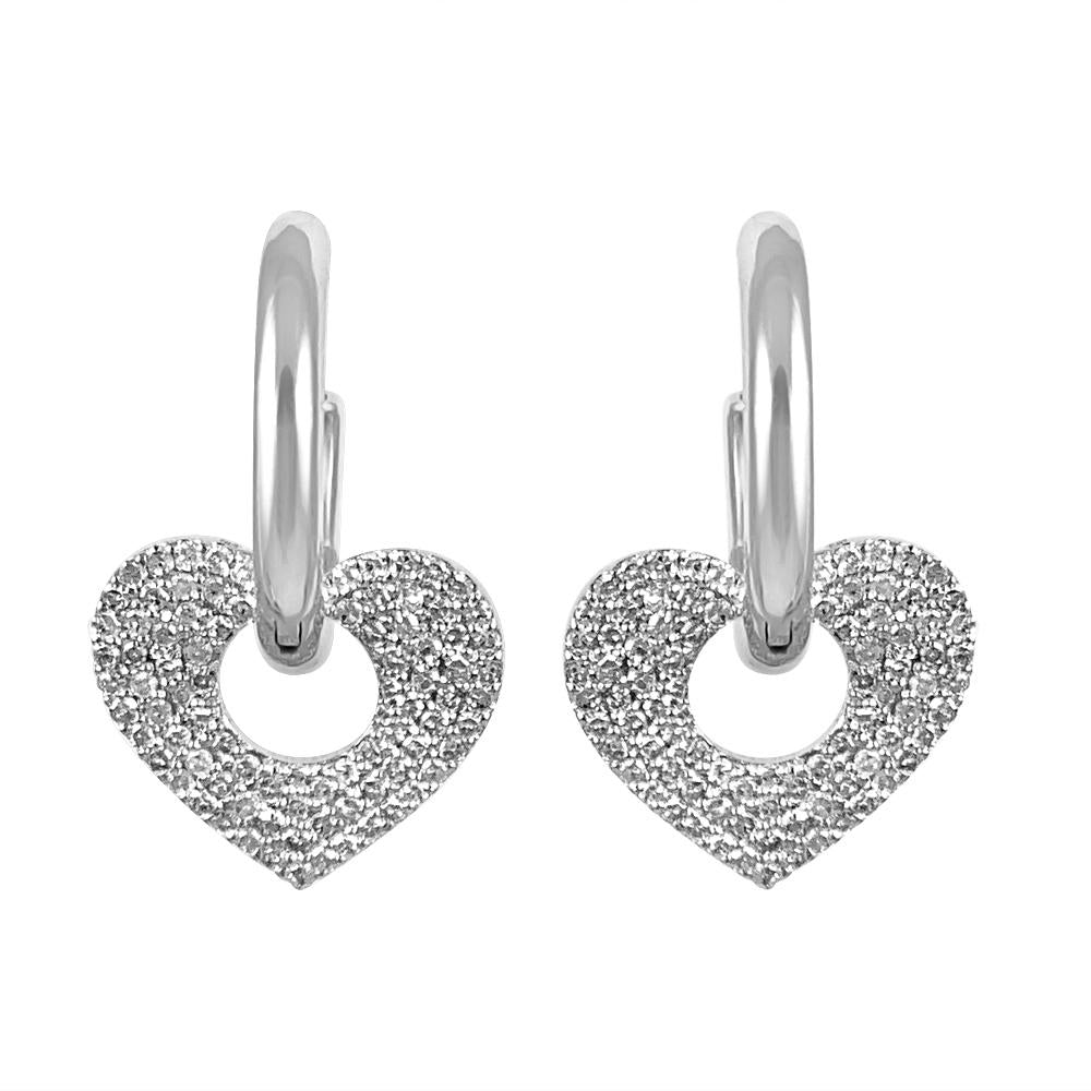 Dangling Hearts with Hoops in 14K White Gold with Diamonds