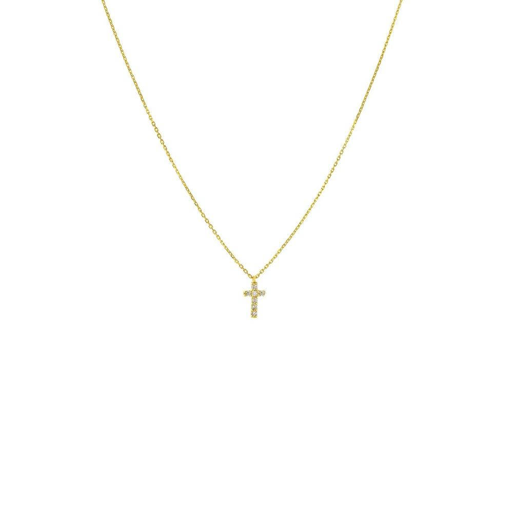 Diamond Small Cross Necklace 14K Gold 18""