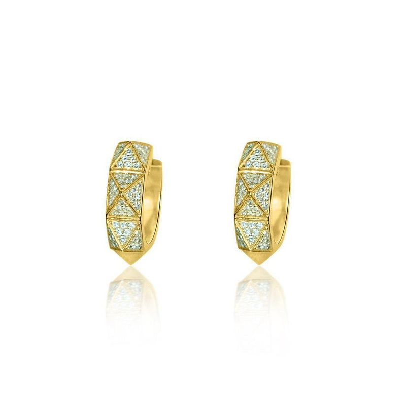 14K Yellow Gold Hoops with Diamonds