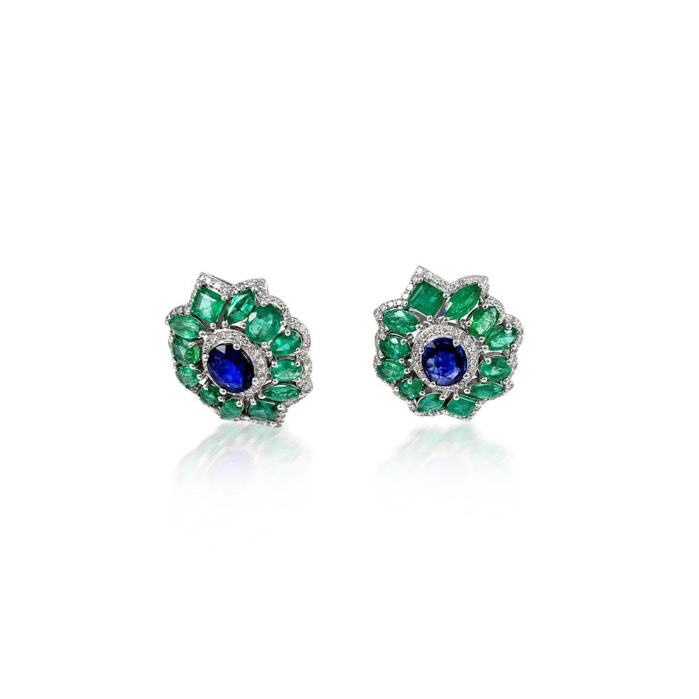 Emerald Sapphire & Diamond Silver Earrings