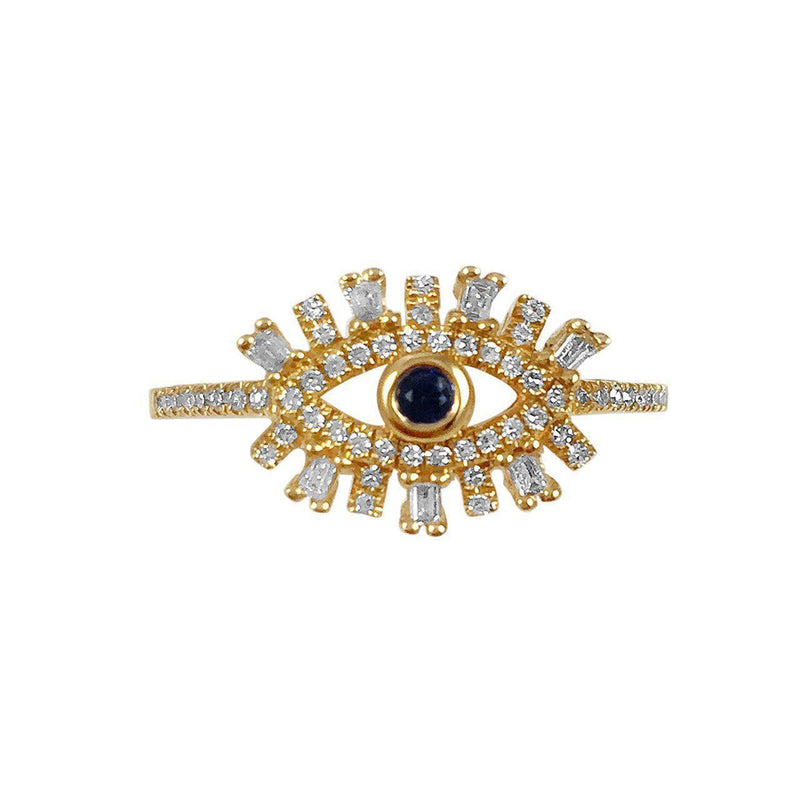 14K Yellow, White or Rose Gold Ring with Sapphires and Diamonds     Evil Eyelash Gold: 2.35g 1 Blue Sapphire of 0.06ct 7 Baguette Diamonds of 0.06ct 52 Diamonds of 0.13ct