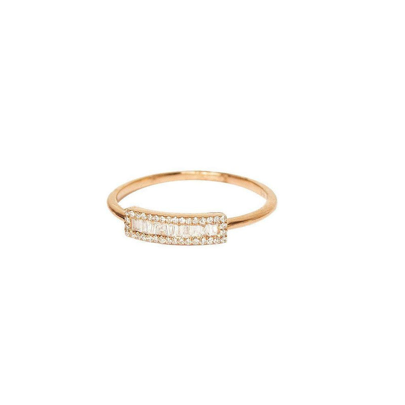 14K White, Yellow or Rose Gold Ring with Diamonds  36 Diamonds of 0.08ct 11 Baguette Diamonds of 0.11ct Gold Total Weight: 1.34g
