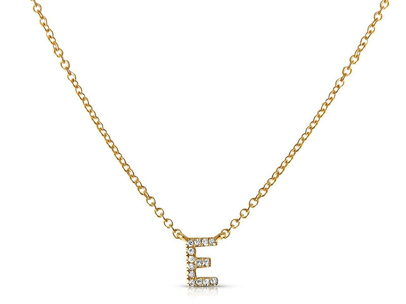 Personalized Diamond Initial in solid 14k yellow gold