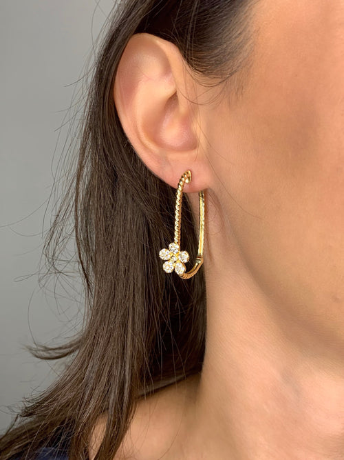 Flower Diamonds Hoops 14K Yellow Gold