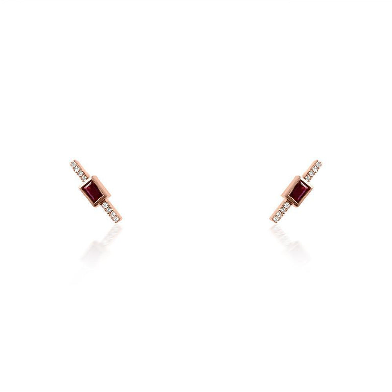 14K Rose Gold Ruby & Diamond Stud Earrings