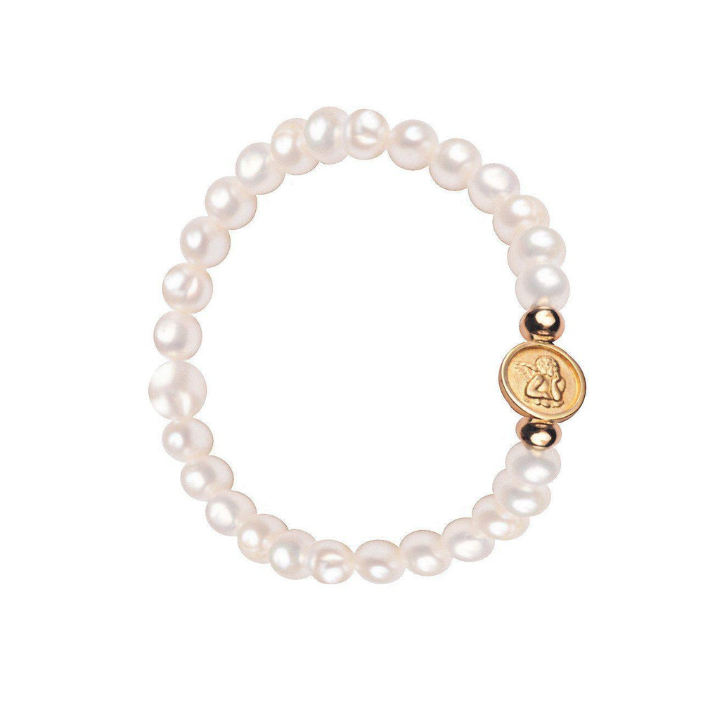 Bracelet for Children: 14K Yellow Gold Medal in Elastic Bracelet on Genuine Fresh Water Pearls Small Guardian Angel in Medal