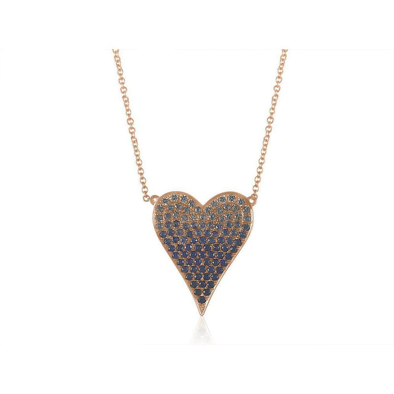 "14K Rose Gold Necklace with Sapphire and Diamonds  Heart 6 Diamonds of 0.07ct 89 Sapphires of 1.02ct Gold Total Weight: 3.25g Chain size: 14""-16""-18"""