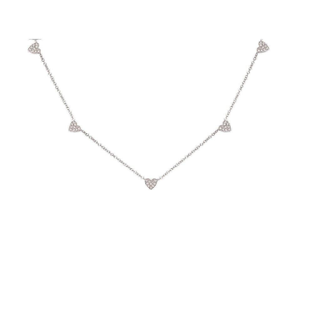 "14K White Gold Necklace with Diamonds  Hearts 50 Diamonds of 0.13ct Chain Size: 14""-16""-18"""