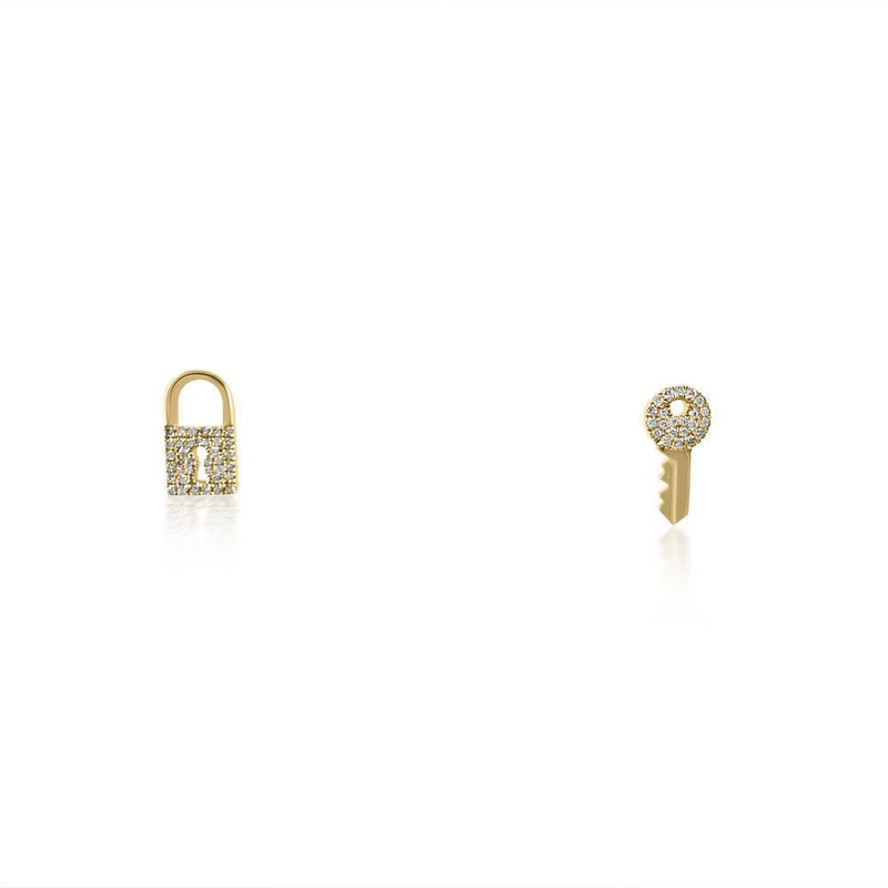 Key Locket in 14K Yellow Gold & Diamond Earrings