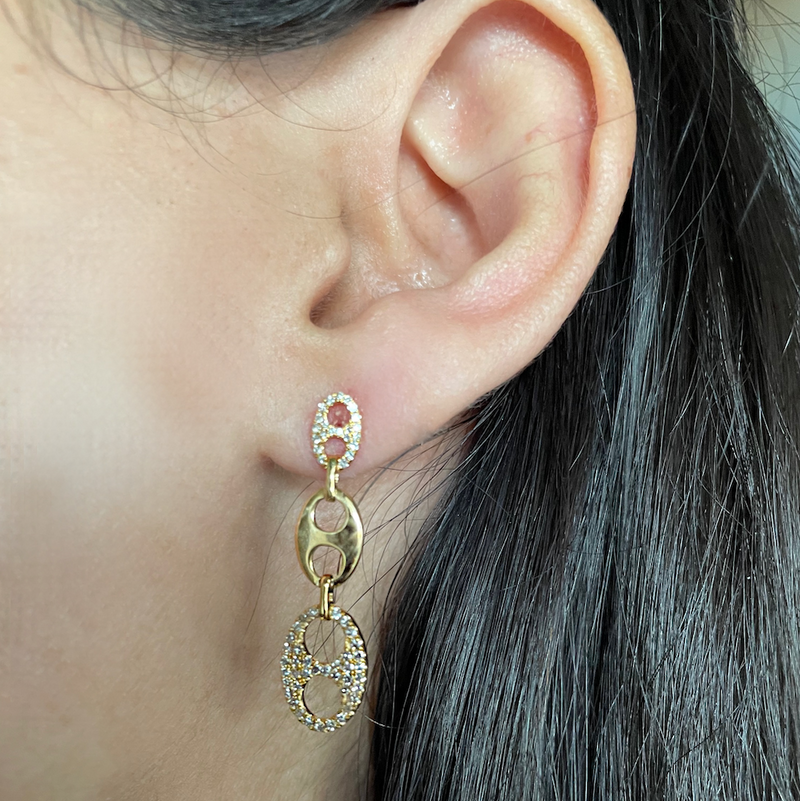Long earrings set in 14K Yellow Gold with Diamonds