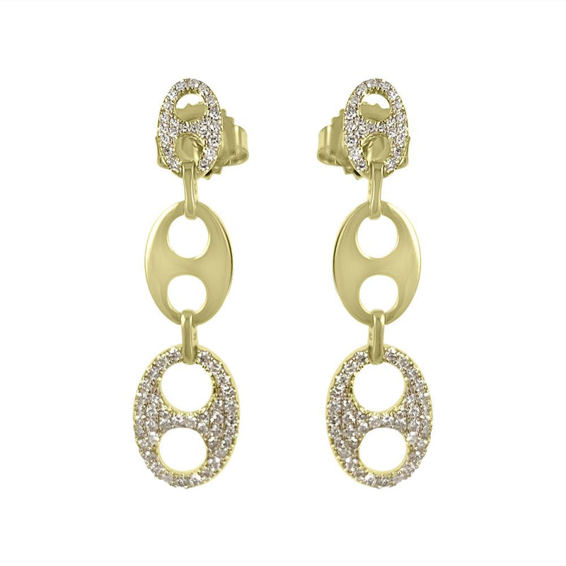 Long earrings in 14K Yellow Gold with Diamonds