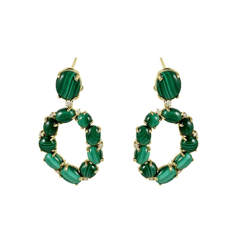 Malachite Oval Earrings 14K Yellow Gold