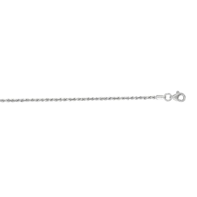Chain:  1.5mm 14K White Solid Gold Rope Chain Pear Shape Clasp Size: 22""