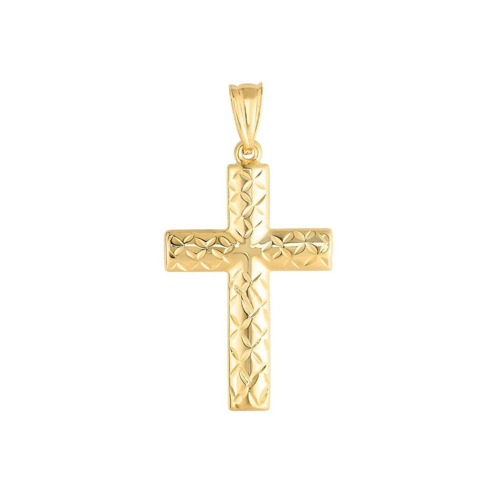 14K Yellow Gold Cross Necklace   Men's Cross Pattern and Plain Side Hollow Cross - 14K Yellow Semisolid Gold 18x35mm Total Weight: 1.2g