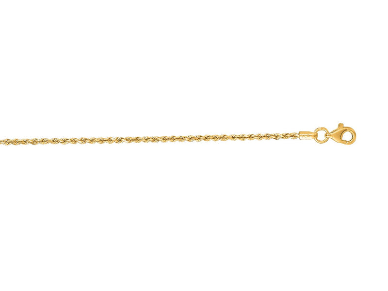 1.5mm 14K Yellow Solid Gold Rope Chain Pear Shape Clasp Size: 22""
