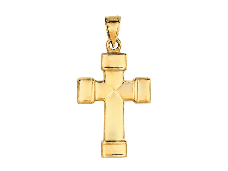 14K Yellow Gold Cross Necklace   Men's Cross Hollow Cross - 14K Yellow Semisolid Gold 31x16.6mm Total Weight: 1.2g