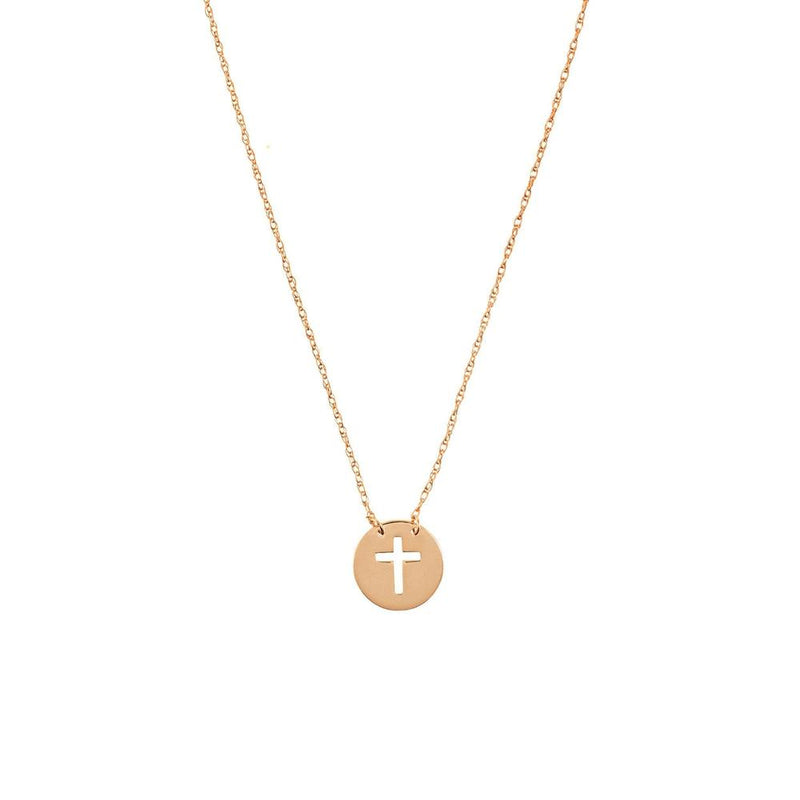 Mini Disk Cut-out Cross 14K Rose Gold Necklace - Gift under $200